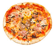 Top view of thin pizza with mushrooms and ham Stock Image
