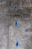 Top view of three blue traffic cones on asphalt road for traffic. Lanes organization Royalty Free Stock Photography