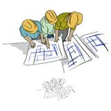 Top view three construction engineer looking at blueprint in con. Struction site vector illustration sketch doodle hand drawn with black lines isolated on white vector illustration