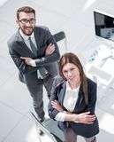 Top view. three employees standing in the office stock image