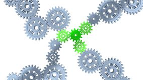 Top View of Three Green Gears with Some Silver Gears in Infinite Rotation. On a white background stock illustration