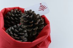 Top view of three pine cones in red bag with seasonal greeting card, seasonal holiday background/concept. White background with space for text royalty free stock photos