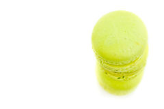 Top of view of three stacked green cake macaron isolated on white background, maccarone sweet dessert Royalty Free Stock Images
