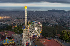 Top view on the Tibidabo amusement park with the views of Barcelona city Royalty Free Stock Images