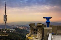 Top view from Tibidabo Mountain, Barcelona. Top view from Tibidabo Mountain at sunset, Barcelona, Spain royalty free stock photos