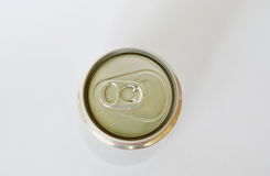 Top view of tin can drink on white background Stock Image