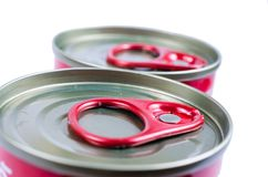 Top view tin can with ring pull Royalty Free Stock Photography