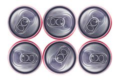 Top view of Tin Cans. Top view of Silver Tin Can isolated in white background . No brand visible Royalty Free Stock Image