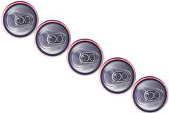 Top view of Tin Cans. Top view of  Silver Tin Cans isolated in white background . No brand visible Stock Photo
