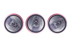 Top view of Tin Cans. Top view of  Silver Tin Cans isolated in white background . No brand visible Royalty Free Stock Images