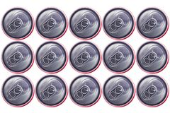 Top view of Tin Cans. Top view of  Silver Tin Cans isolated in white background . No brand visible Royalty Free Stock Image