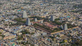Top view of the Tiruvannamalai city and Arunacheshvara Temple. View of  Indian Shiva Temple from Arunachala hill. Beautiful Panoramic view of the holy city in Stock Photography