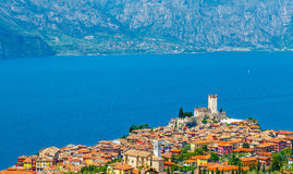 Top view to ancient tower and colorful houses in malcesine old town Royalty Free Stock Photography