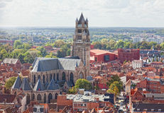 Top view to Bruges and the cathedral St. Sauveur Royalty Free Stock Photography