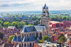 Top view to Bruges Stock Photography