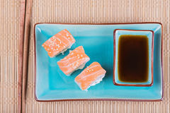 Top view to california maki sushi with salmon Stock Images
