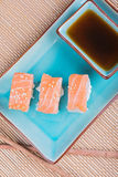Top view to california maki sushi with salmon Royalty Free Stock Image