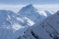 Top view to Caucasian mountains peaks covered by snow Royalty Free Stock Photography