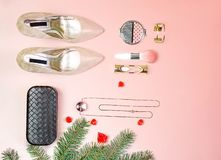 Flat lay to Christmas Valentines day party outfit shoes accessories jewelry makeup clutch cosmetic brushes fir tree background in stock photos