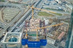 April 2019,Moscow,Russia.Top view to construction site of erecting skyscraper,futured office-tower stock photography