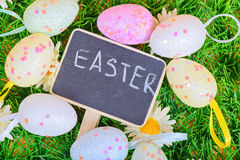 Top view to the easter eggs with chalkboard Stock Photos