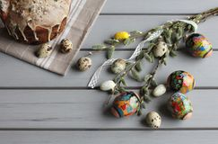 Top view to Easter table decoration. royalty free stock photo