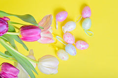Top view to the easter tulips and eggs Royalty Free Stock Image