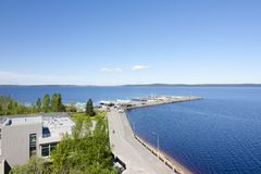 The top view to embankment of Onego lake in Petrozavodsk, Karelia, Russia. The top view to embankment of Onego lake in Petrozavodsk, Karelia, Russia Stock Images