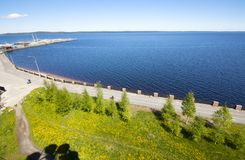 The top view to embankment of Onego lake in Petrozavodsk, Karelia, Russia. The top view to embankment of Onego lake in Petrozavodsk, Karelia, Russia Stock Image