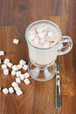Top view to the hot chocolate with marshmallows Stock Photos