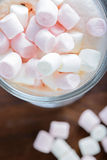 Top view to the  marshmallows in hot chocolate Stock Image