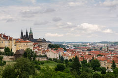 Top view to old town of Prague, historical districts and cathedral. Czech republic from an observation deck on Petrin hill Royalty Free Stock Photography