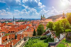Top view to red roofs skyline of Prague city, Czech Republic. Aerial view of Prague city with terracotta roof tiles, Prague, royalty free stock photo