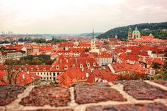 Top view to red tile roofs of Prague city Czech republic. Typical Prague houses Stock Image