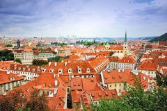 Top view to red tile roofs of Prague city Czech republic. Typical Prague houses. Wide angle panorama Stock Photography