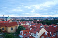 Top view to red tile roofs of Prague stock image