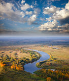 Top view to the river for autumn Stock Photos