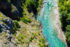 Top view to the mountain river Tara, Montenegro, Europe. royalty free stock photos