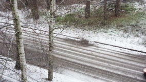 Top view to the road in the winter. stock footage