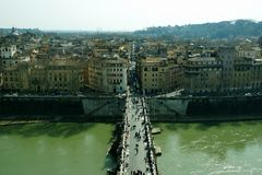 Top view to Tiber and bridges from castel of Saint Angelo Stock Photo
