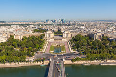 Top view to the Trocadero garden from Eiffel Tower Royalty Free Stock Photo