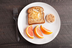 Top view of toad in a hole egg breakfast Stock Photo