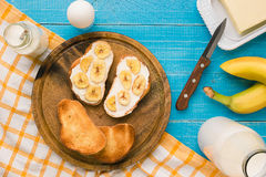 Top view of toast bread butter and banana Royalty Free Stock Image