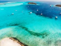 Top view of Tobago cays. Aerial drone view of tropical islands and turquoise Caribbean sea of Tobago cays in St Vincent and Grenadines royalty free stock photos