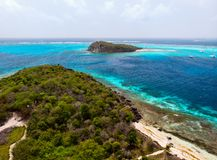 Top view of Tobago cays. Aerial drone view of tropical islands and turquoise Caribbean sea of Tobago cays in St Vincent and Grenadines royalty free stock images
