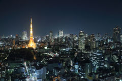 Top view of Tokyo cityscape at night Stock Photos