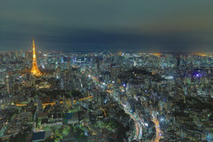Top view of Tokyo cityscape at night time, Japan Royalty Free Stock Photography