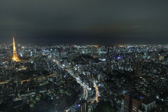Top view of Tokyo cityscape at night time, Japan Stock Images