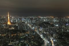 Top view of Tokyo cityscape at night time, Japan Royalty Free Stock Images