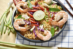 Top view Tom Yum Kung Noodle Spicy Fried Dried,Fried dried shrimp noodle,Thai food,Spicy Food. Royalty Free Stock Photography